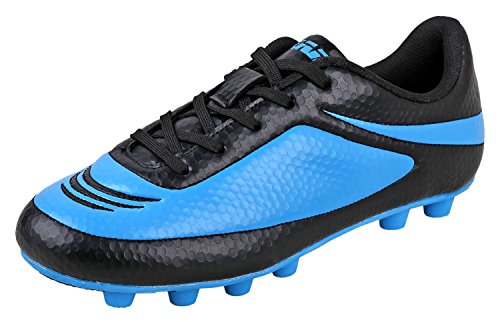 Vizari Youth/Jr Infinity FG Soccer Cleats | Soccer Cleats Boys | Kids Soccer Cleats | Outoor Soccer Shoes | Black/Sky 8