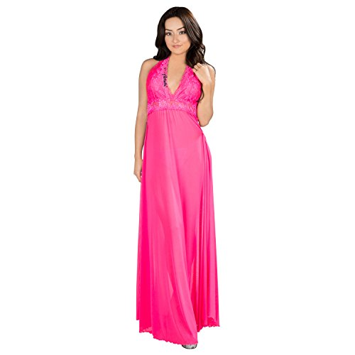- Pink Sexy NightGown Lingeire Elegant Noble Stain, G-String Thong, Baby Doll Nightwear Sexy Pajamas,Pink,One Size