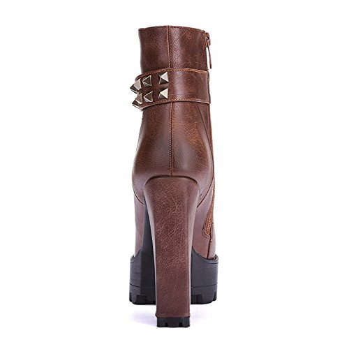 AmoonyFashion Womens Round-Toe Closed-Toe High-Heels Boots with Thread and Metal Ornament Brown zfqcad