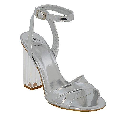 ESSEX GLAM Sintético Sandalias de punta abierta con tacón transparente y tiras al tobillo para fiesta Plata Metálico