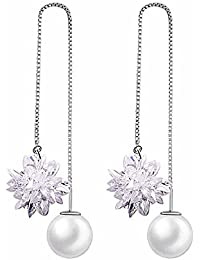 Fashion Ice Flower Pearl 925 Sterling Silver Earrings Crystal Snowflake Long Earrings Earrings