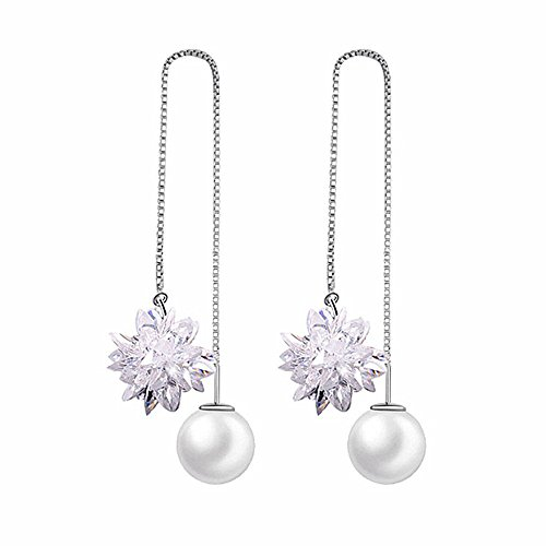 Ice Flower - LOCHING Fashion Ice Flower Pearl 925 Sterling Silver Earrings Crystal Snowflake Long Line Earrings Earrings (Ice Flower)