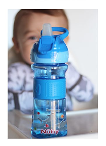 Nuby Thirsty Kids Push Button Flip-it Soft Spout on The Go Water Bottle with Easy Grip Band, Blue Sharks, 12 Ounce
