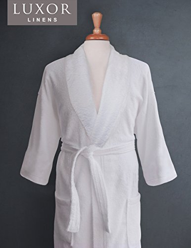 Luxor Linens Couple's Terry Cloth Bathrobe Egyptian Cotton Unisex/One Size Luxurious Soft Plush Elegant San Marco (Single Robe, No Monogram)