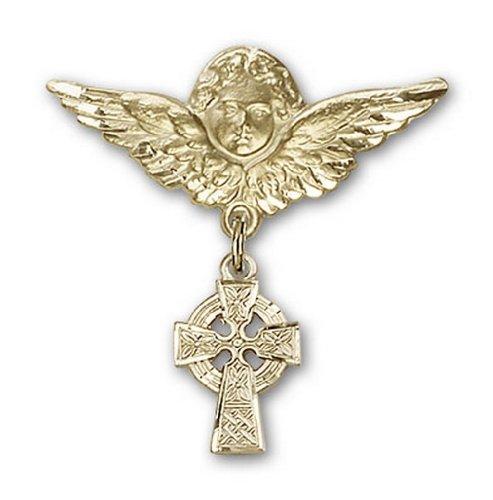 Icecarats Or Bijoux De Créateurs Rempli Broches Badge Croix Charme D'Ange Celtique 1 1/8 X 1 1/8