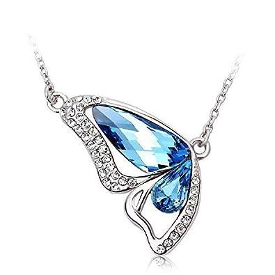 J F - Collier femme avec pendentif en forme de papillon et cristaux  Swarovski Crystal, plaqué Rhodium  Amazon.fr  Bijoux 534e41f46b29