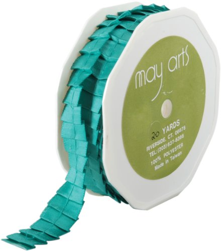 May Arts 5/8-Inch Wide Ribbon, Teal Satin Pleats by May Arts