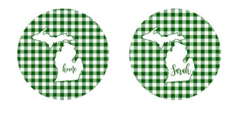 (Michigan State Car Coasters Sandstone or Neoprene Personalized Green & White Plaid (Set of 2))