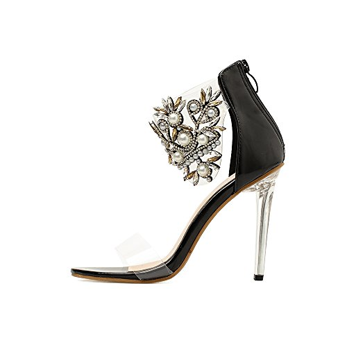 Platform Color Women's Heel Club Summer PVC 40 Translucent Size Heels Shoes Heel Light Black Heel Shoes Sparkling Stiletto Crystal Fall Glitter up Shoes HqAOS