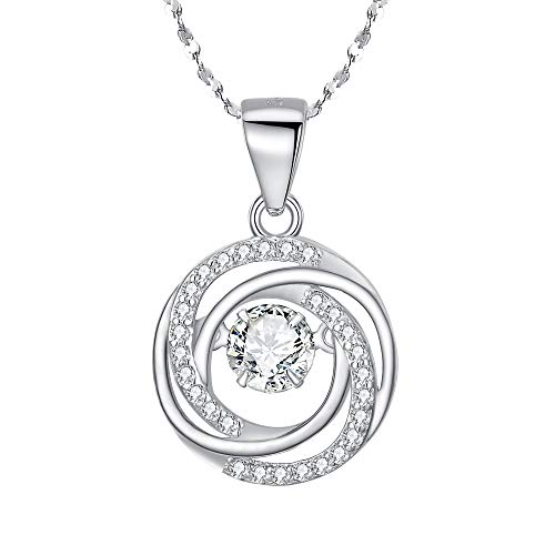 BriLove 925 Sterling Silver Necklace Dancing CZ Round Spiral Swirl Pendant Necklace for Women ()