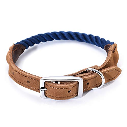 Mile High Life | Premium Cotton Rope Dog Collar | Stainless Steel Pin Buckle Ring Dog Collar | Genuine Leather Belt…