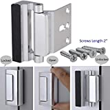 Home Security Door Lock BWHSDL-0001, Child Proof Reinforcement Lock Withstand 800 lbs Door Latch, Double Safety Security Protection for Your Home, Silver