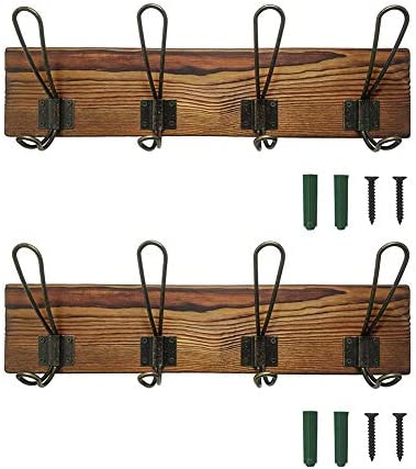 Rustic Coat Rack Wall Mounted Solid Wooden Coat Hook Rack With 8 Hooks Perfect Touch For Your Entryway Mudroom Kitchen Bathroom And More Brown 16 34inch Office Products