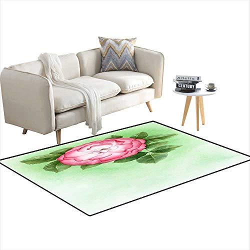 - Girls Bedroom Rug Watercolor Illustration of Dog-Rose Flower 4'x12'