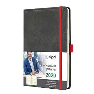SIGEL C2057 Agenda semanal 2020 Conceptum, tapa dura 13,5 x 20,3 cm, diseño Vintage aspecto cuero gris oscuro