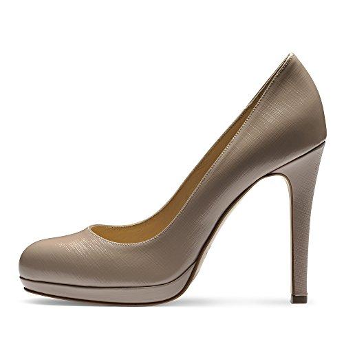 Evita Shoes Cristina Damen Pumps Lack mit Prägung Hellbeige
