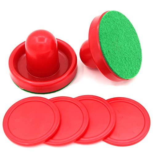 Iumer Air Hockey Red Replacement Pucks&Slider Pusher Goalies for Home Game Tables Equipment Accessories (2 Striker, 4 Puck Pack)