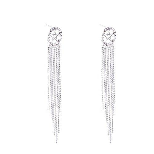 Tassel Shaped (Yeefant 1 Pair Fashion Tassel Pendant Shaped Steel Stud Diamond Jewelry Earring for Girl,Silver)