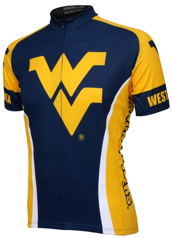 NCAA West Virginia Cycling Jersey,Large (navy/yellow)