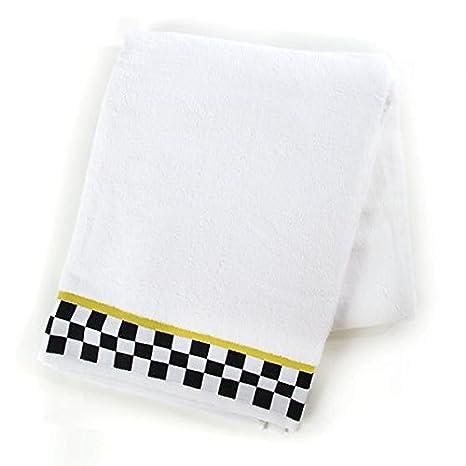 Mackenzie-Childs marca nuevo, 100% auténtico, blanco y negro Check - Toalla de baño, 40 cm de ancho, 70 cm de largo: Amazon.es: Hogar