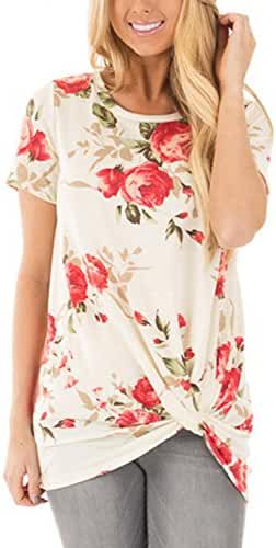Dokotoo Womens Summer Casual Short Sleeve Floral Knot Blouse Tops and T-Shirts