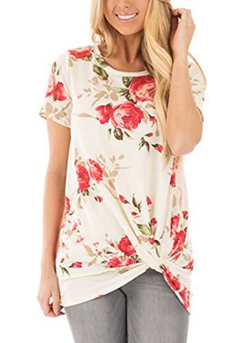Dokotoo Womens Ladies Fashion Summer Boho Floral Shirts and Blouses Tops White Small ()