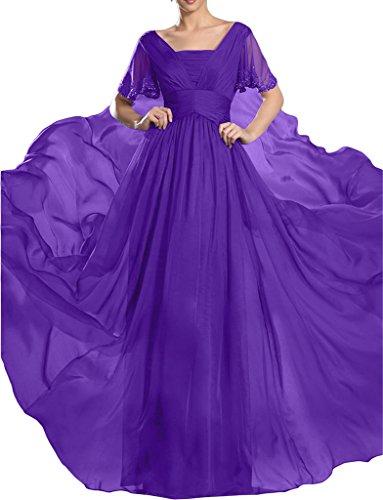 Kurz Ivydressing Partykleid Festkleid Violett Linie A Promkleid Chiffon Damen Abendkleid steine Hochwertig Aermel 8AqrEwA1B