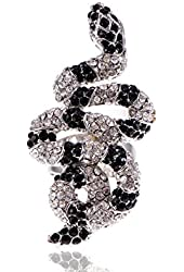 Crystal Rhinestone Encrusted Nile River Serpent Slithering Silver Fashion Ring