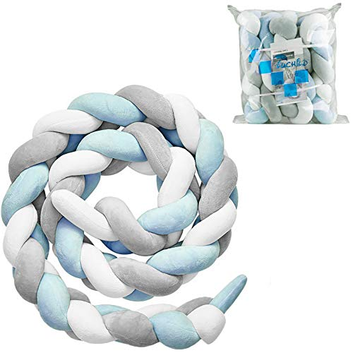 Luchild Baby Braided Crib Bumper Soft Snake Pillow Protective & Decorative Long Baby Nursery Bedding Cushion Knot Plush Pillow for Toddler/Newborn (White+Grey+Blue) ()