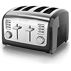 BLACK+DECKER 4-Slice Toaster, Stainless Steel, T4030