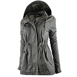 TL Women's Militray Anorak Parka Hoodie jackets with Drawstring OLIVE MEDIUM