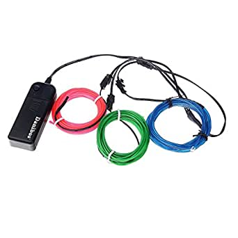 El wire, Danibos 10 Feet Light Glow Wire Rope Tube Car Bar Dance Party Transparent + Controller (Blue+Green+Pink)