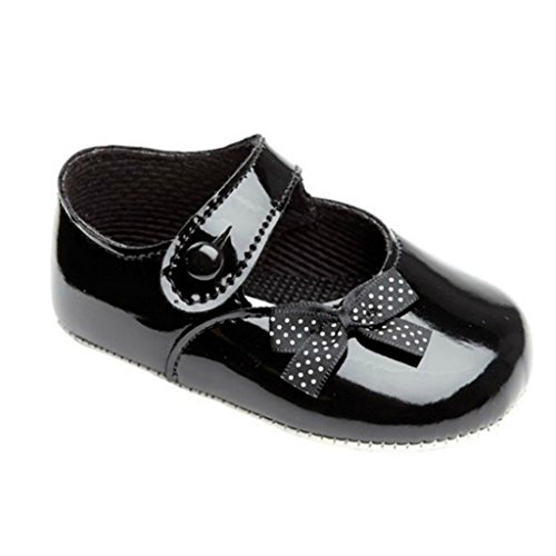 Earlydays Baypods - Zapatos del cochecito de niña para una boda o fiesta de bautizo - Punto polca arco Negro Patente