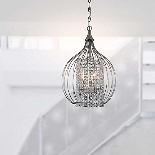 Compact Satin Nickel and Crystal Pendant Chandelier Includes 39.5 inches of chain