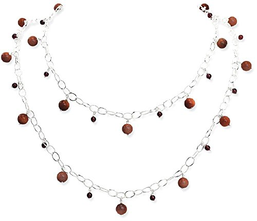 ICE CARATS 925 Sterling Silver Sun Stone Red Garnet Chain Necklaces Gemstone Fine Jewelry Gift Set For Women Heart by ICE CARATS (Image #1)