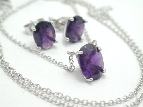 925-sterling-silver-18k-white-gold-755ctw-genuine-amethyst-necklace-earrings-set