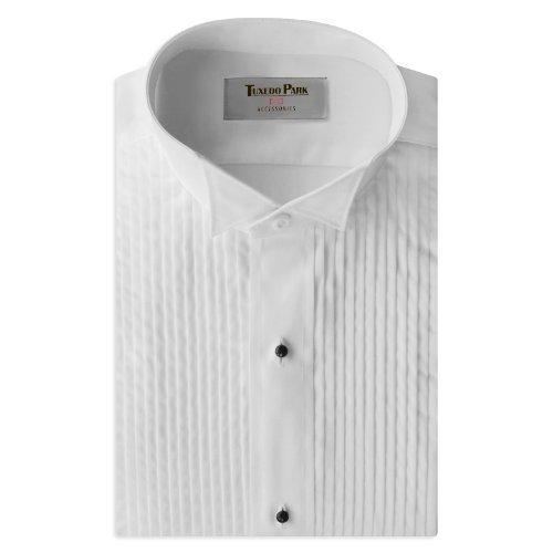 Tuxedo Shirt- Boys White Wing Collar 1/4'' Pleat (BM (Ages 10-12))