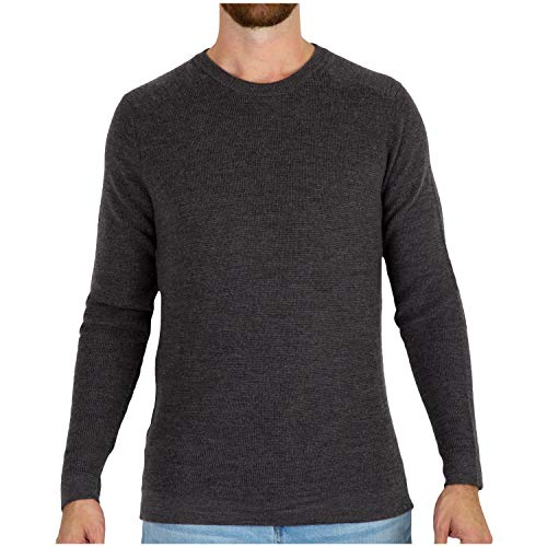 (MERIWOOL Mens Merino Wool Knit Sweater Crewneck Pullover Top - Medium Charcoal Gray)