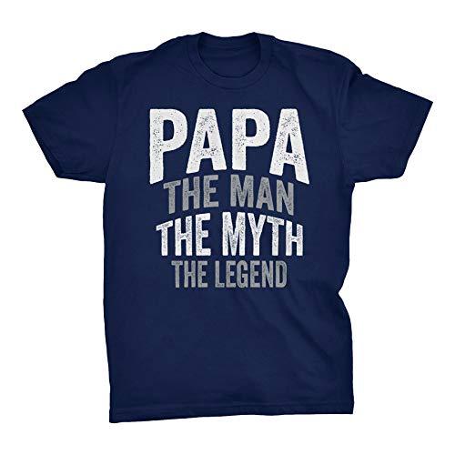 Papa Man Myth Legend - Fathers Day Mens T-Shirt - Text B-Navy-Lg