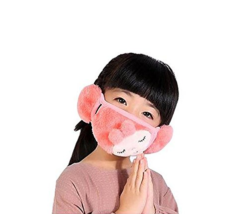 Kids Teens PM 2.5 Cotton Anti Dust Flu Air Filter Face Mouth Warm Masks Dustproof Protective Masks (Pink)