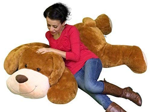 (Giant Stuffed Puppy Dog 5 Feet Long Squishy Soft Extremely Large Plush Honey Brown Color )