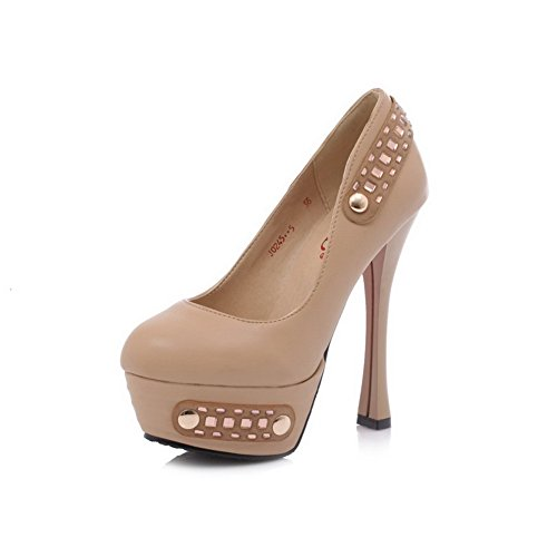VogueZone009 Womens Closed Round Toe High Heel Stiletto PU Soft Material Solid Pumps with Metal, Apricot, 3.5 UK