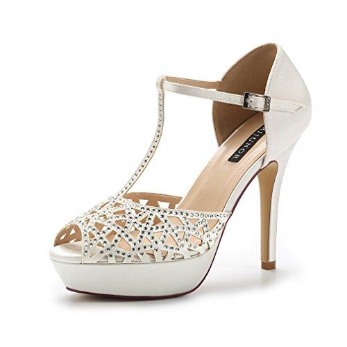 ERIJUNOR E2211 High Heel Platform Sandals for Woman Rhinestones T-bar Sandals Sparkling Dress Sandals Party Dance Wedding Shoes Ivory Size 7 by ERIJUNOR