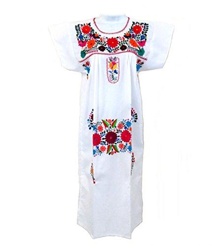 [Leos Mexican Imports Mexican Dress Puebla (XXX-Large, White] (Cinco De Mayo Dress)