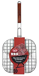 TableCraft BBQ15 BBQ 22-Inch Metal Burger Turner with Wood Handle, Small, Silver