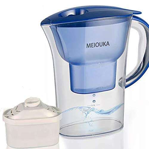 Blue 10 Cup Water Filter Pitcher with Filter Improve PH and Water Taste,10 Cup Water Purifier Filtration Pitcher, NSF Certified Removes Impurity Lead Chlorine Copper and Other Heavy Metals, BPA-Free