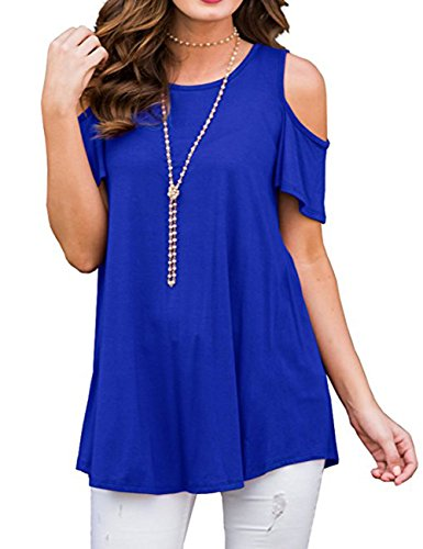 Cotton Blend Blouse (BABAKUD Womens T Shirt Cold Shoulder Tunic Tops Short Sleeve Shirts Casual Summer Blouse, Royal Blue, Size M)