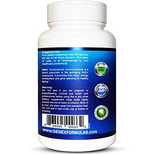 NMN 250mg Serving Nicotinamide Mononucleotide Direct NAD+ Supplement, Anti Aging DNA Repair & Healthy Metabolism (2X 125mg Capsules 60ct). by Genex Formulas (Image #2)