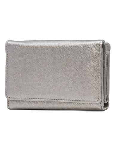 (Mundi Small Womens RFID Blocking Wallet Compact Trifold Safe Protection Clutch With Change Purse ((Pewter)))