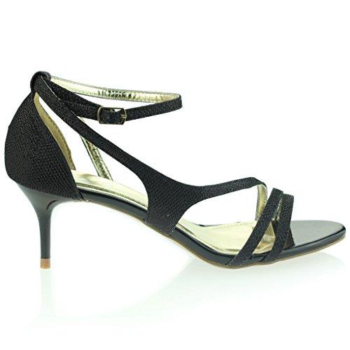 Mujer Señoras Punta Abierta Correa de Tobillo Delgado Tacón Medio Noche Fiesta Boda Prom Sandalias Zapatos Talla Negro